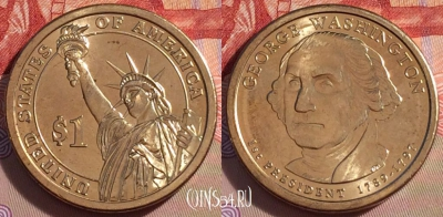 США 1 доллар 2007 года, George Washington, UNC, 271-086