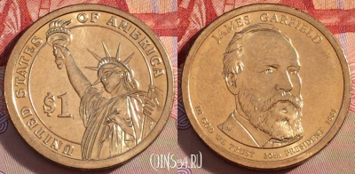 США 1 доллар 2011 года, James Garfield, UNC, 271-098
